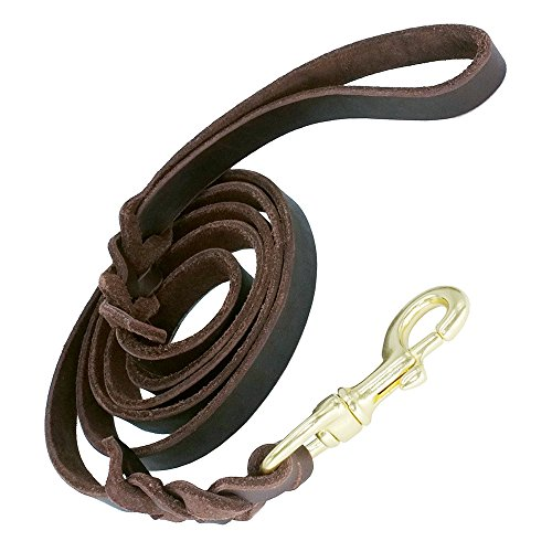 """Image of Leather Dog Training Leash 6 ft x 5/8"""" by Vcalabashor / Genuine Braided Latigo Leather / Soft & Durable / Suitable for Medium Large Dogs / Best Choice for Dog Obedience"""