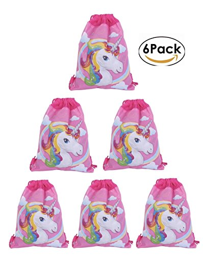 Drawstring Bags Favors for Kids Unicorn Design Backpack Rucksack Shoulder Bags Gym Bag, Arts & Crafts Activity 6 Pack (Cartoon, Animals )13.8