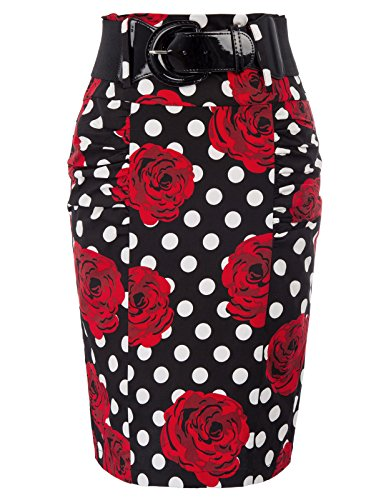 Plus Size Elastic Floral Pencil Skirt Vintage Pencil Skirts for Women, Floral-9, XXX-Large