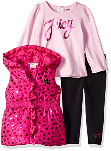 Juicy Couture Baby Girls 3 Pieces Puff Vest Set, hot Pink/Black, 3-6 ()