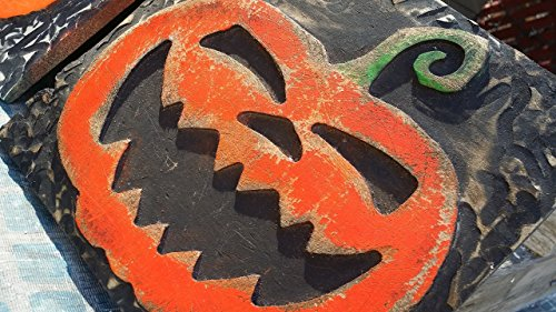 Treat Outdoor Art (Painted and Carved Wooden Jack-o-lantern Halloween wall art Decoration)