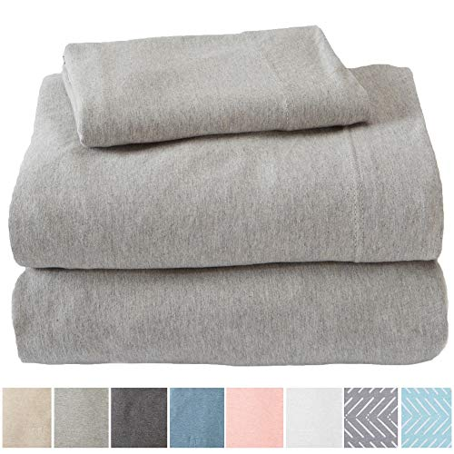 Great Bay Home Extra Soft Heather Jersey Knit (T-Shirt) Cotton Sheet Set. Soft, Comfortable, Cozy All-Season Bed Sheets. Carmen Collection Brand. (Twin, Light Grey)