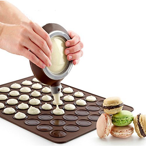 Saasiiyo Practical 30-cavity Silicone Pastry Cake Macaron shape mould Oven Baking pastry Mould Sheet Mat