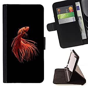 Momo Phone Case / Flip Funda de Cuero Case Cover - Tail Animaux minimaliste Rouge Noir - Apple Iphone 6 PLUS 5.5