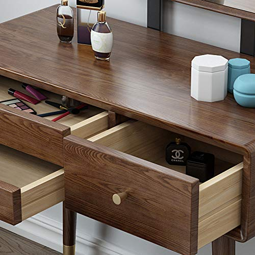 YUNXIAOHONG Dressing Table - Light Luxury Size Dressing Table - Environmentally Friendly Walnut Dressing Table Brown