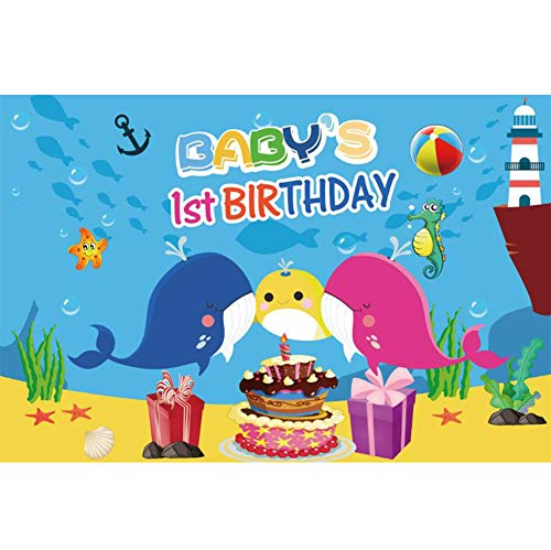 Yeele 6x4ft Cartoon Shark Baby 1st Birthday Backdrop for Photography Undersea World Background Nautical Whale Starfish Seahorse Cake Party Decoration Banner Boy Girl Photo Portrait Studio Props