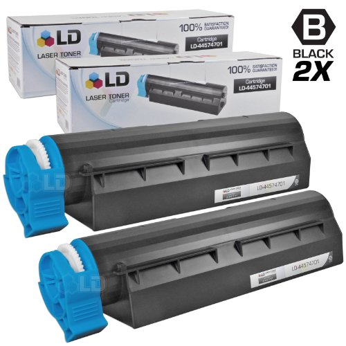 LD Compatible Toner Cartridge Replacement for Okidata 44574701 (Black, 2-Pack)