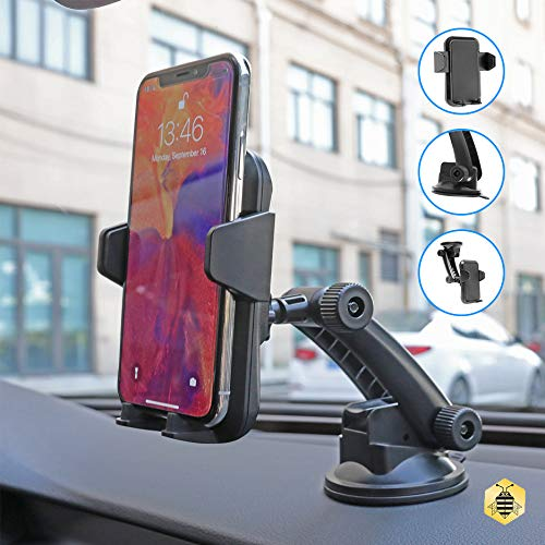 S015-H115 C115 BLACK Car Mount Holder,Universal Dashboard Car Phone Mount Holder One-Touch Design/&Washable Strong Sticky Gel Pad Compatible iPhoneXs MAX//XS//XR//X//8//8Plus7//Galaxy S7//S8//S9//S10,Google,LG,