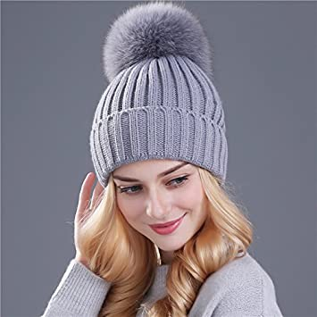 edc9978b Beanie Hats- Fox Fur Ball Caps- Female Hats- Soft Knitted Winter Beanies-