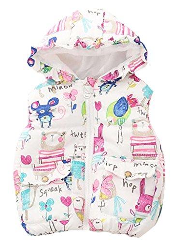 ASHERANGEL Little Girls Cartoon Scrawl Printed Hooded Vest Zipper Outerwear