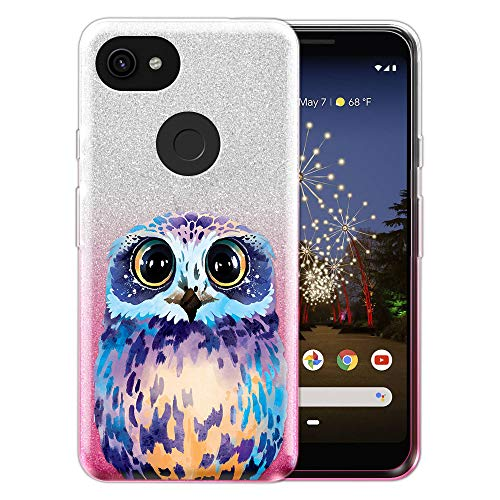 (FINCIBO Case Compatible with Google Pixel 3a XL 6 inch, Shiny Sparkling Silver Pink Gradient 2 Tone Glitter TPU Protector Cover Case for Pixel 3a XL (NOT FIT Pixel 3a 5.6 inch) - Blue Owl)