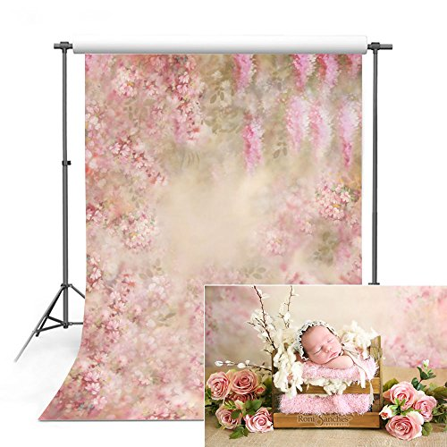COMOPHOTO Newborn Backdrops for Photography Baby Floral Photo Background for Pictures 5x7ft Seamless Polyester