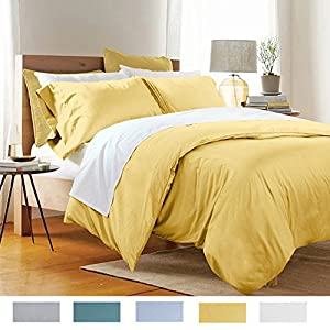 Duvet Cover Set California King , 100% Cotton 3 Piece Bedding Sets Golden , Fade & Stain Resistant - Hypoallergenic Bedroom Sets FADFAY