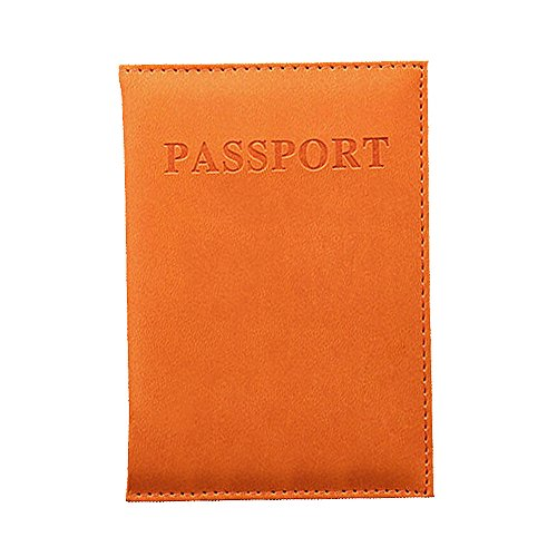 - Passport Holder Cover Wallet PU Leather Card Case RFID Blocking ID Card Protector (Orange)