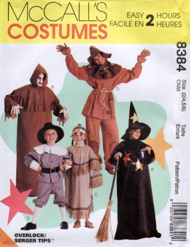 McCalls 8384 Childs Halloween Costume Ghoul, Pilgrim, Scarecrow, Witch, Indian Sewing Pattern Size 2 - 4, 5 - (Pilgrim Costume Pattern)