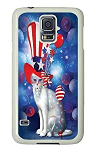 Samsung Galaxy S5 Case, Samsung Galaxy S5 Cases -Patriotic Cat Hatter Custom PC Hard Case Cover for Samsung S5/Samsung Galaxy S5 White