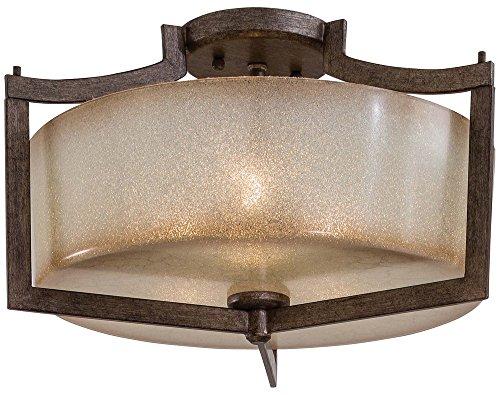 Minka Lavery Semi Flush Mount Ceiling Light 4397-573, Clarte Glass Lighting Fixture, 3 Light, 180 Watts, Patina