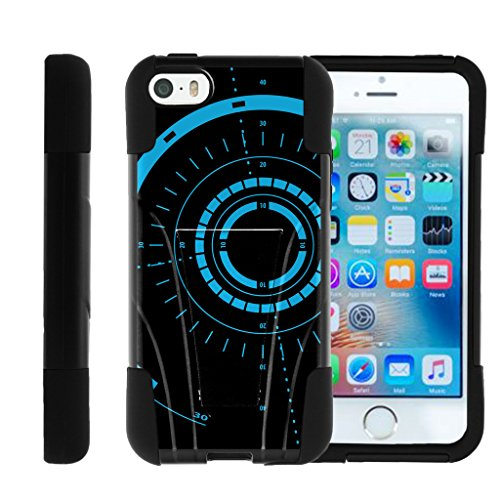 TurtleArmor | Compatible for Apple iPhone SE Case | iPhone 5/5s Case [Gel Max] Hybrid Hard Shell Impact Silicone Cover Layer with Kickstand Video Games Design Series - Blue Tron Target (From 5s Cases Iphone Target)