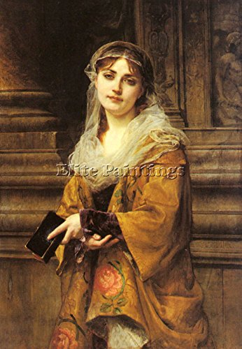 MULLER CHARLES LOUIS YOUNG WOMAN OUTSIDE CHURCH ARTIST PAINTING OIL CANVAS REPRO 40x28inch