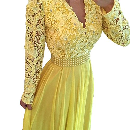LISA.MOON Women's V Neck Long Sleeves Back Hole Lace Applique Pearl Evening Gown All Yellow US04 (Long Bridesmaid Sleeve)