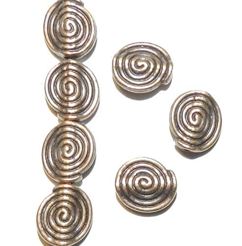 Pendant Jewelry Making Antiqued Copper 10mm Semi- Round with Swirl Design Metal Alloy Beads 20pc