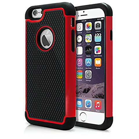 iPhone 6 Case, MagicMobile Rugged Dual Durable Armor Case for iPhone 6 Impact Resistant Shockproof Double Layer Hard Shell Case with Soft Flexible Black Silicone Skin Cover [ Color: Red ] (Compatible Only with iPhone 6 (Iphone 6 Case Armor Rugged Black)