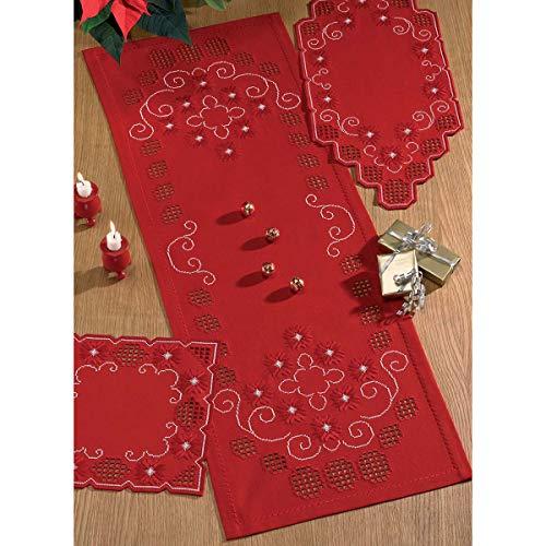 OKSLO Christmas scroll table runner hardanger kit