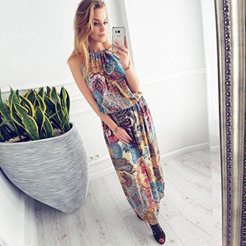 Kleid Transer® Damen Partei Kleider Polyester Sleeveless Urlaub Strand Mehrfarbig Knöchel-Länge Cocktailkleid Gr.S-XL