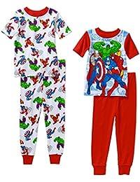 Avengers Little Boys 4 PC Short Sleeve Cotton Tight Fit Pajama Set 5T