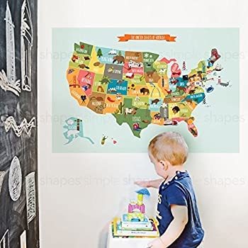 Kids Usa Map Poster Wall Sticker Ilrated Children S Usa Map Small 35 W X 22 5 H By Simple Shapes