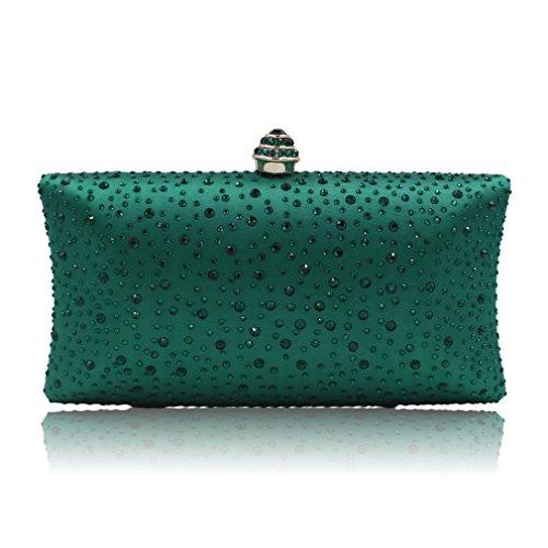 NEW Evening Clutch Bag Women High-Grade Green Satin Clutches Hand Bag Pochette Soiree ()