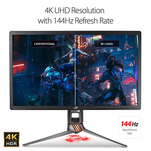 "ASUS ROG Swift 27"" 4K Gaming Monitor (PG27UQ) - UHD (3840 x 2160), IPS, 144Hz, 4ms, G-SYNC Compatible, Aura Sync, VESA Mountable, DisplayPort, HDMI, Height Tilt Swivel Pivot Adjustable"