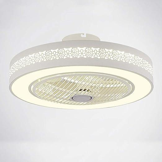 Wandun Lámpara LED de techo Ventiladores para el techo con lámpara moderna Redondo Control remoto de correa regulable Iluminación de techo interior Cuarto de niños Dormitorio Ventilador de Techo Luz d: Amazon.es: