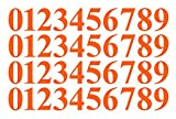 Five Star Graphics 0-9 Numbers Orange Vinyl Sticker Decals Assorted Set of 40 Choose Size!! 1'' to 12'' (V646OrgTimes) (2.5'')