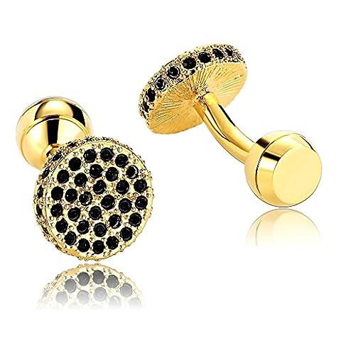 Beydodo Men's Ball Return Cufflinks Stainless Steel (Shirt Accessories) Round Gold Black (Ball Watch Engineer Ohio)