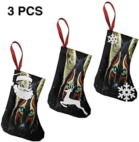 クリスマスの日の靴下 (ソックス3個)クリスマスデコレーションソックス キツネ クリスマス、ハロウィン 家庭用、ショッピングモール用、お祝いの雰囲気を加える 人気を高める、販売、プロモーション、年次式