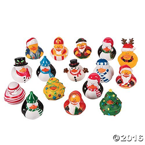 Fun Express Vinyl Christmas Rubber Duckies | 1-Pack | Great for Christmas Party and Holiday Celebrations Decoration]()