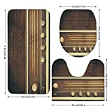 3 Piece Bathroom Mat Set,Vintage Decor,Old Antique Retro 60s Radio Music Player Loudspeakers Buttons Image,Brown and White,Bath Mat,Bathroom Carpet Rug,Non-Slip