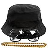 Gravity Trading 90s Hip-Hop Gold Chain Costume Kit (Bucket Hat + Sunglass + Gold Chain) Black S/M
