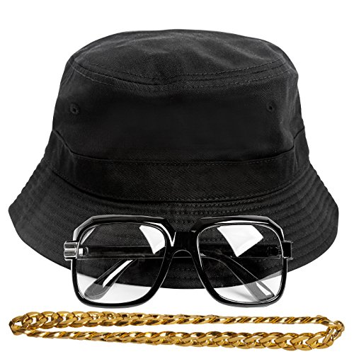 Gravity Trading 90s Hip-Hop Gold Chain Costume Kit (Bucket Hat + Sunglass + Gold Chain) Black L/XL]()