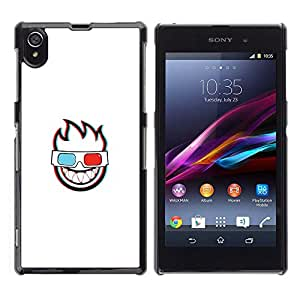 // PHONE CASE GIFT // Duro Estuche protector PC Cáscara Plástico Carcasa Funda Hard Protective Case for Sony Xperia Z1 L39 / 3D FLAMING FACE /