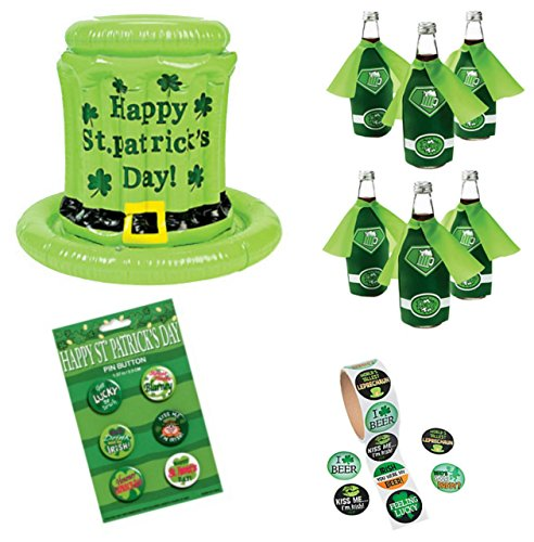 St. Patricks Day Party Supplies - Inflatable St. Patty Cooler, 6 Beer Bottle Coozies With Capes, 100 St Paddy Stickers, 6 St. Patrick's Day - Womens Throw Gear Express