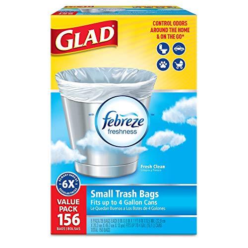Glad Small Trash Bags - OdorShield 4 Gallon White Trash Bag, Febreze Fresh Clean - 26 Count Each (Pack of 6)
