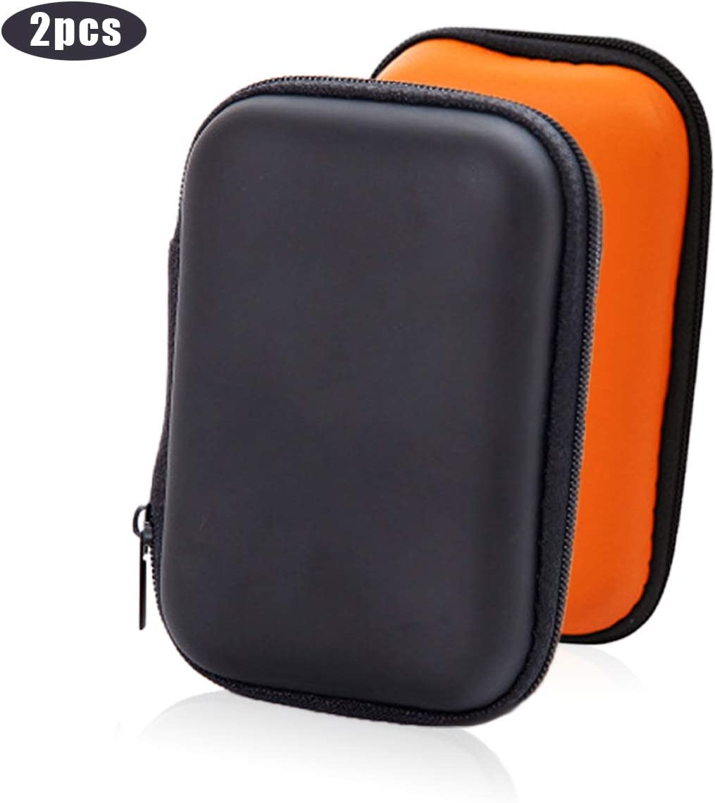 Earbud Case, PU Leather Earphone Carrying Pouch Protection Hard EVA Bag Waterproof for AirpodsBluetooth HeadsetUSB Charger CableFlash Drive 2pcs