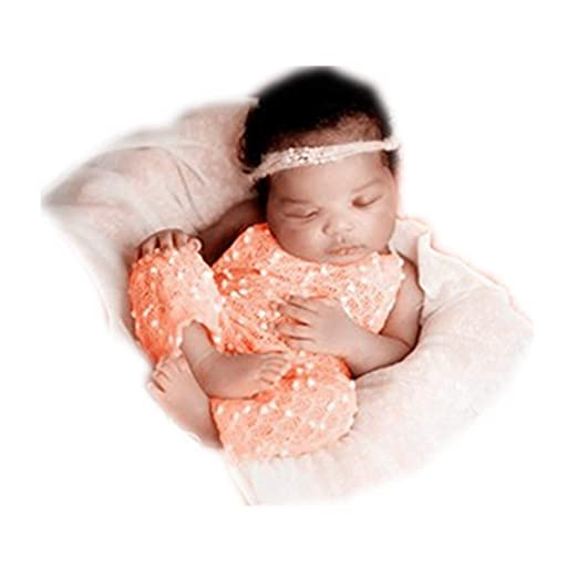 78a741f4279e Amazon.com: Newborn Monthly Baby Photo Props Outfits Snowflake Rompers for Boys  Girls Photography Shoot (Orange): Clothing
