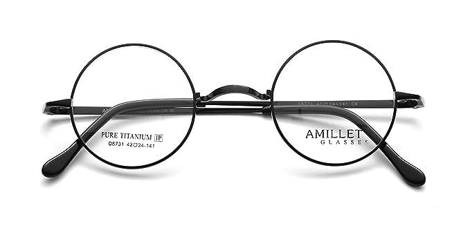 Amazon.com: Amillet 42mm Retro Round Titanium Prescription Eyeglass ...