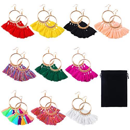 Cooraby 10 Pairs Tassel Hoop Earrings Bohemia Colorful Fan Shape Drop Earrings with Velvet Storage Bag for Women Girls Party Bohemia Dress Accessory Fashion Jewelry (Multicolor B)