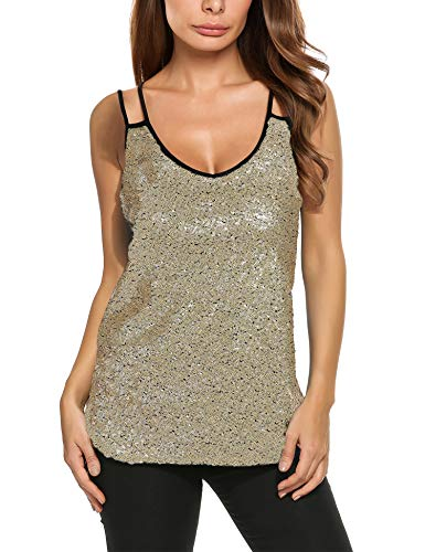 Zeagoo Women's Sleeveless Sequin Top Sparkle Shimmer Camisole Vest Tank Tops Golden XX-Large (Golden Vest For Women)