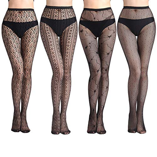 Lady Up Fishnet Suspender Tights Pantyhose Black Lace Stockings for Sexy Women 4 Pairs