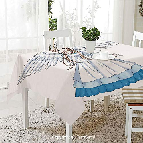 3D Dinner Print Tablecloths Cartoon Illustration of Cute Angel Wings and Flowers Fairytale Japanese Manga Print Tablecloth Rectangle Table Cover for Kitchen(W60 xL84) ()